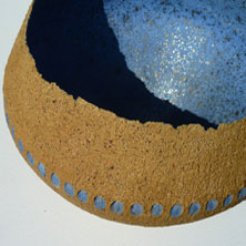Blue- impressed ochre bowl