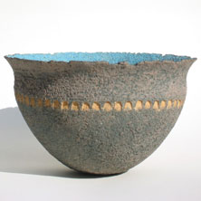 Blue & yellow studded bowl