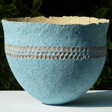 Ochre - impressed blue, yellow bowl